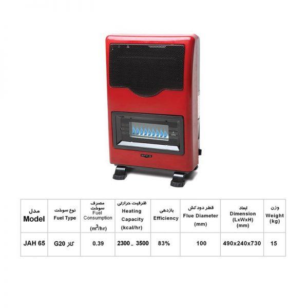 بخاری گازی 6500 جهان افروز مدل آوا JAH-65