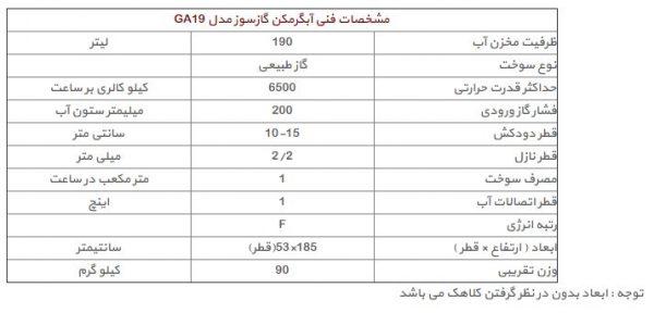آبگرمکن گازی 190 لیتری ایران کارتوس مدل GA19 مخزنی استوانه ای 60 گالنی