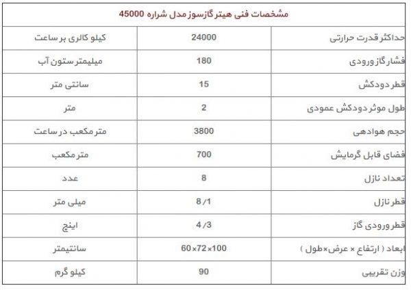 هیتر گازی 45000 ایران کارتوس مدل شراره